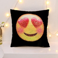 Magic Emoji Lentejuelas Reversible Sequin Cushion Cover 18 Inch Pillow Covers For Home Decorative