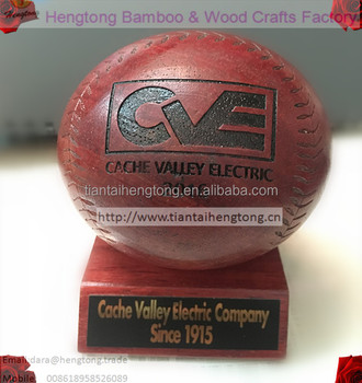 75mm maroon color rubber wood ball, wooden baseball logo engraved or carved, gift ball
