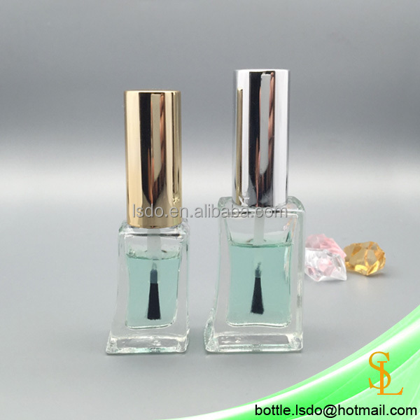 wholesale empty 8ml 12ml clear flat nail polish glass bottles unique design with gold and silver fancy caps