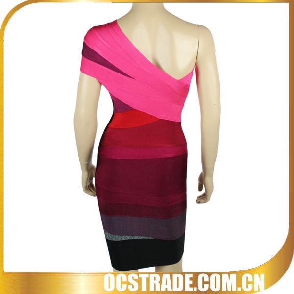 kaftan sexy one shoulder red strip dresses wholesale 2014