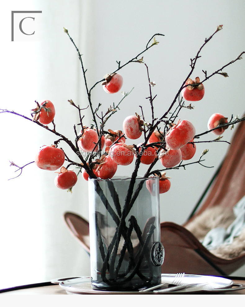 Hot sale artificial persimmon home decoration artificial long branch fruits