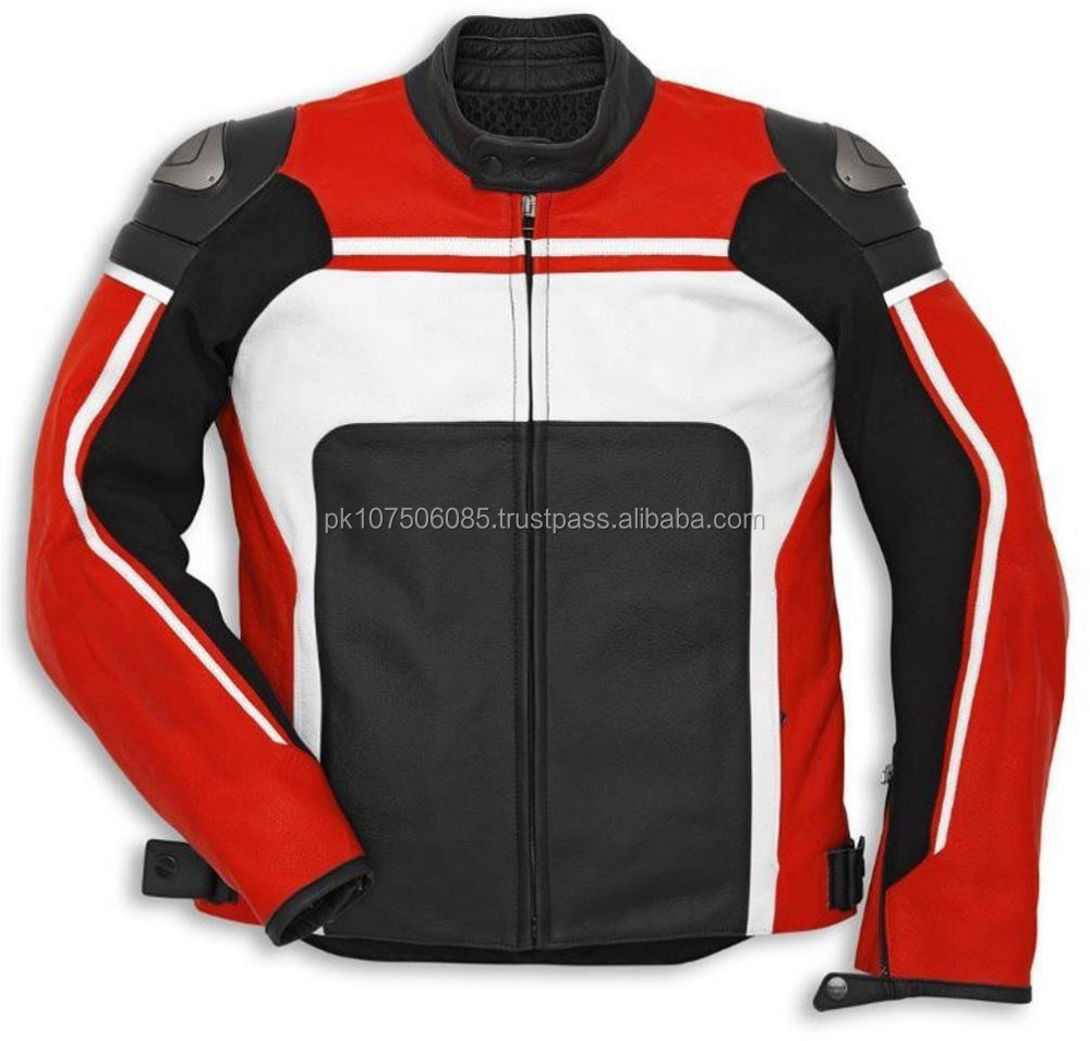 MOTORCYCLE LEATHER JACKET MEN MOTORBIKE BIKER PERFORATED JACKET