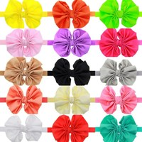2016 15 Colors Chiffon Bowknot Baby Headbands Solid Color Girl Elastic Hair Bands Infant Flower Bow Headband