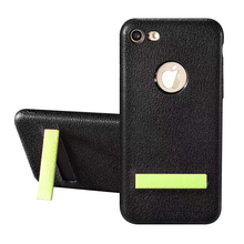 Low price lychee leather pattern soft tpu mobile phone case with kickstand for iphone 6