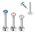 Fashionable labret stud piercing 16g stainless steel opal internally threaded lip ring