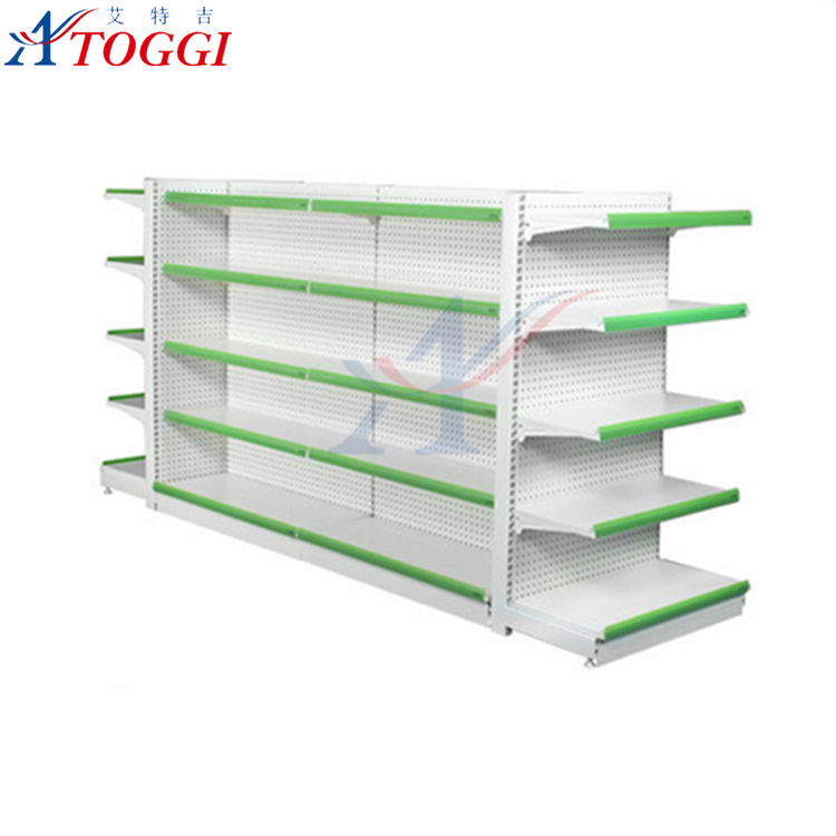 metallic supermarket food display shelf
