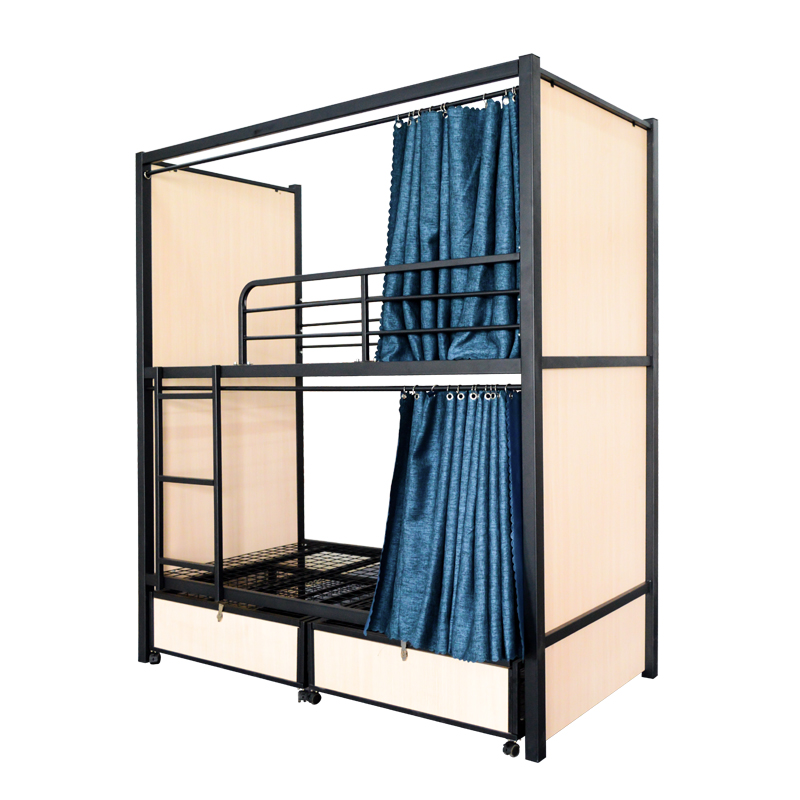 Popular new custom Curtain metal steel hostel dormitory bunk <strong>bed</strong>