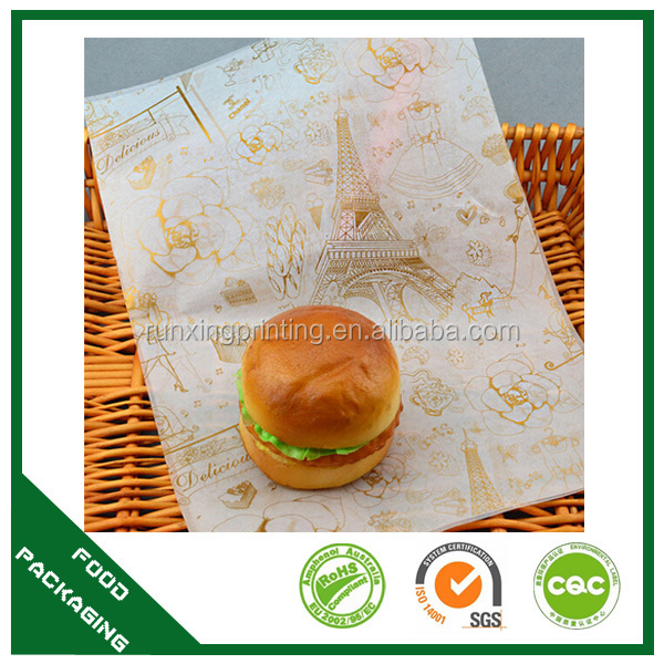 customized logo wax coated paper, Sandwich wrapping paper, burger wrapping paper