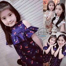 Family fitted original design fashion style lady and her daughter Princess strapless floral dress summer cherries