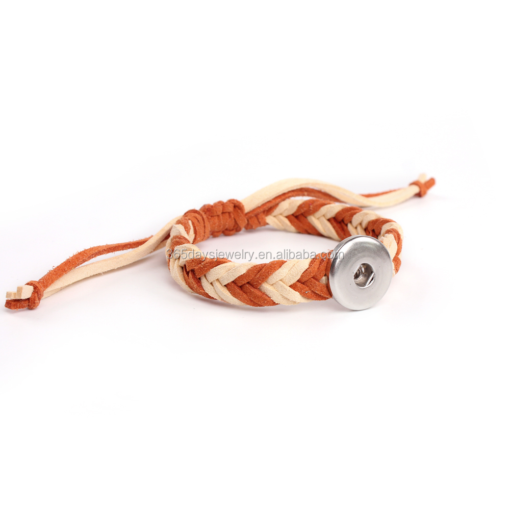New fashion colorful cotton cord weave snap button bracelet