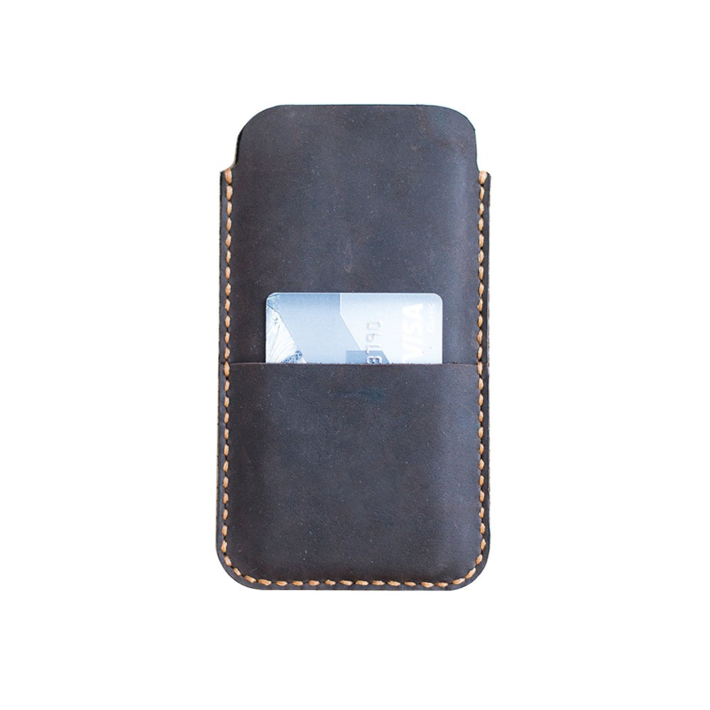 Beautiful minimalist cover phone pouch mobile card holder hand-cut from vintage leather and flashed a bright waxed thread