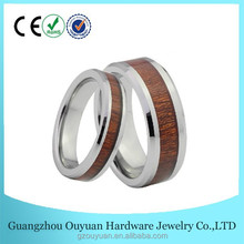 Beveled Edge Wood Inlay Tungsten Ring, Hawaii Wood Inlay Tungsten Ring, Custom Koa Wood Inlay Tungsten Carbide Ring