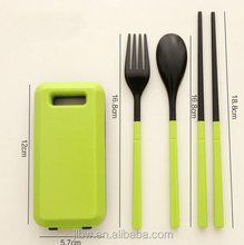 NEW ABS material wholesale Folding Colorful Plastic travel tableware cutlery set with square case