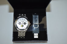 fashion japan movement quartz men USB flash disk and watches gift set men gift set