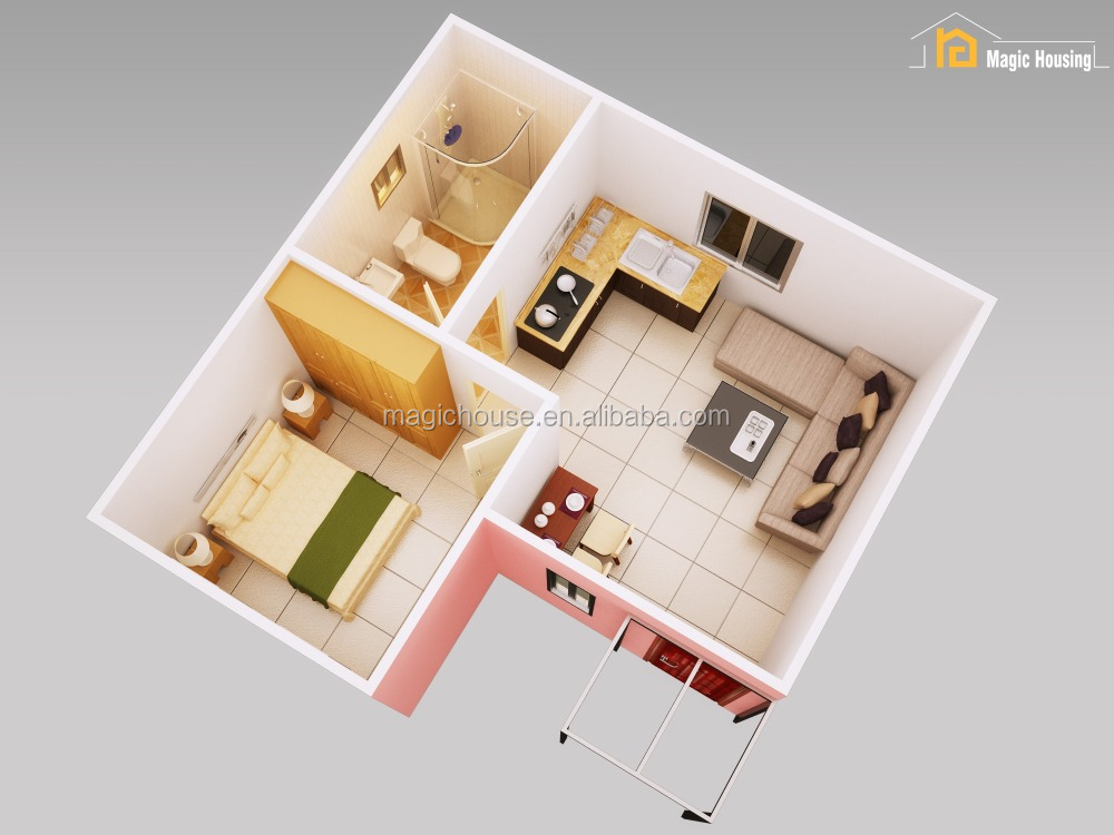 Concrete flat roof house designs small house plans high quality materials 40dB sound insulation SGS test reported