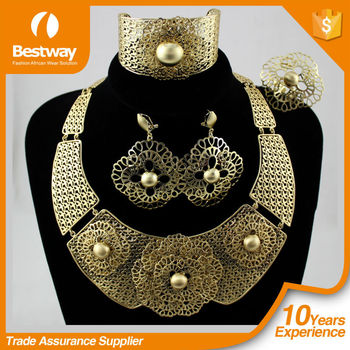 EF0067-1Gold African big jewelry set elegant and luxuary heavy necklace and earings