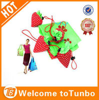 New Product 190T Stawberry folding Shopping Bag Wholesale