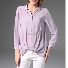 Autumn new design europe women clothing pure color long sleeve silk shirt ladies top