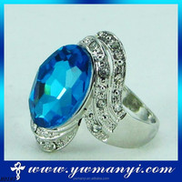 2016 New Fashion Europe And United States Luxury Crystal Rhinestone Blue Silver Gemstone Ring For Men R0187