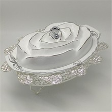 New design rose flower shape ceramic silver oval chafing dish for wedding