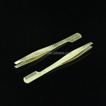 2015 Unique Design Stainless Steel Golden Girls Eyebrow Tweezers With Comb