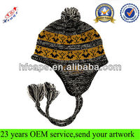 Custom knitted jacquard beanie hat with earflaps pattern/pom pom beanie hats wholesale/cute beanie hats