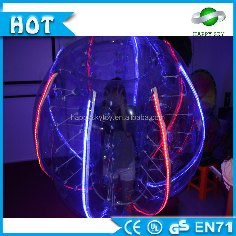 Customized TPU or PVC LED outdoor soccer bubble bumper game balls for adults