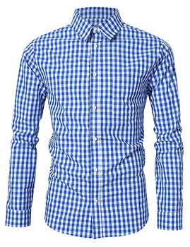 2018 Latest Custom Made to Measure Tailor Made Checked Blue Collared Shirt for Work Men OEM