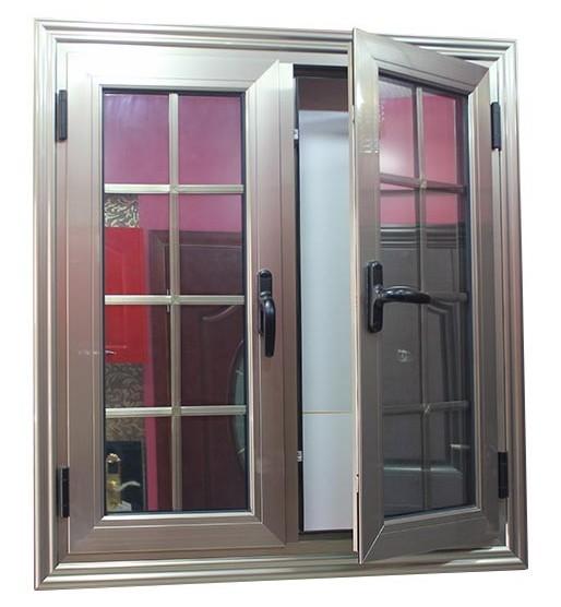 Double opening aluminum casement window with double glass for Best blinds for casement windows