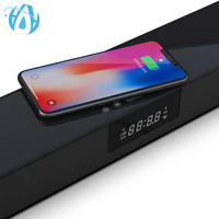 20W QI Wireless Charger Alarm Clock LED Display 4 Speaker Strong Bass Surround Home Theater TV Soundbar with Remote Control