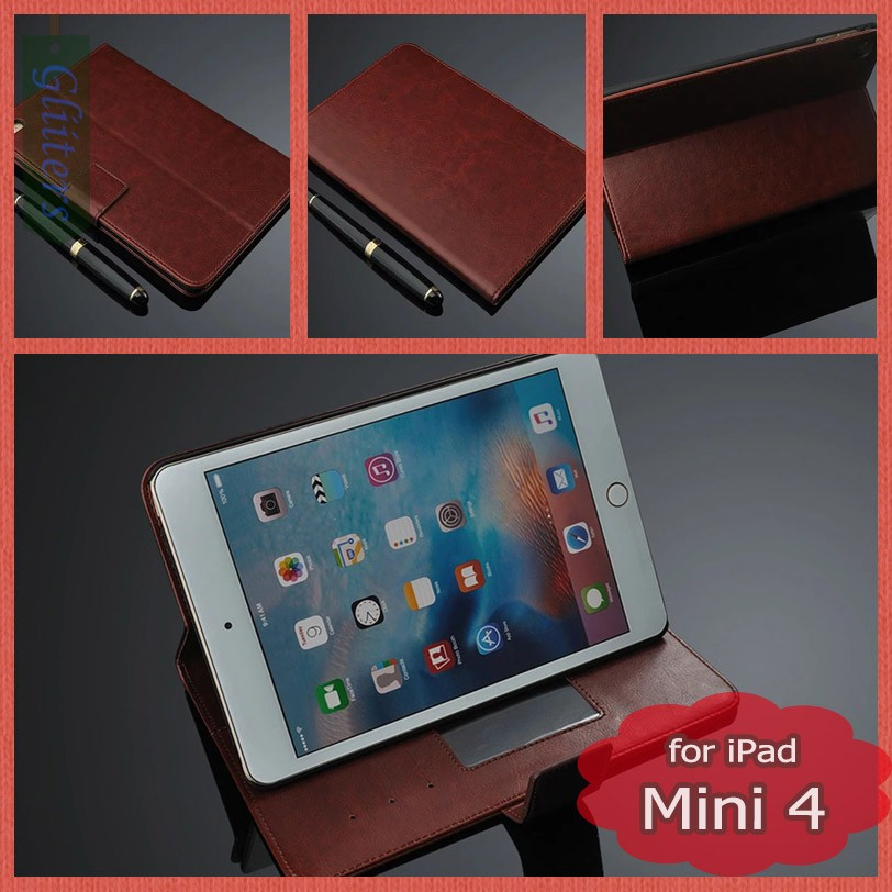 Gliiters flip leather back cover case for ipad mini 4 case cover tablet pc accessories wholesale