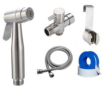 stainless steel shattaf dual nozzle bidet sprayer dual function diaper sprayer