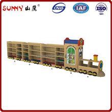 Unique design children wooden train model toy shelf
