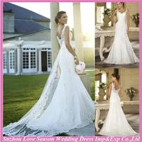 WD7667 latest popular appliqued touching floor germany wedding dress with good service