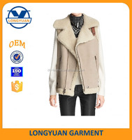 hot customized sheep skin pu leather winter vest with fur linning