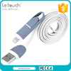 Trade assurance No tangle retractable micro and 8 pin usb 2 in 1 charging cable for all phone