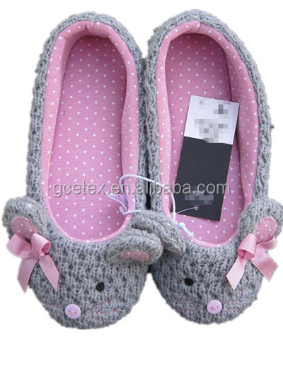 GCE228 Knitted with printed jersey animal ballerina shoes wholesale with despicable me minion plush slippers and shoes