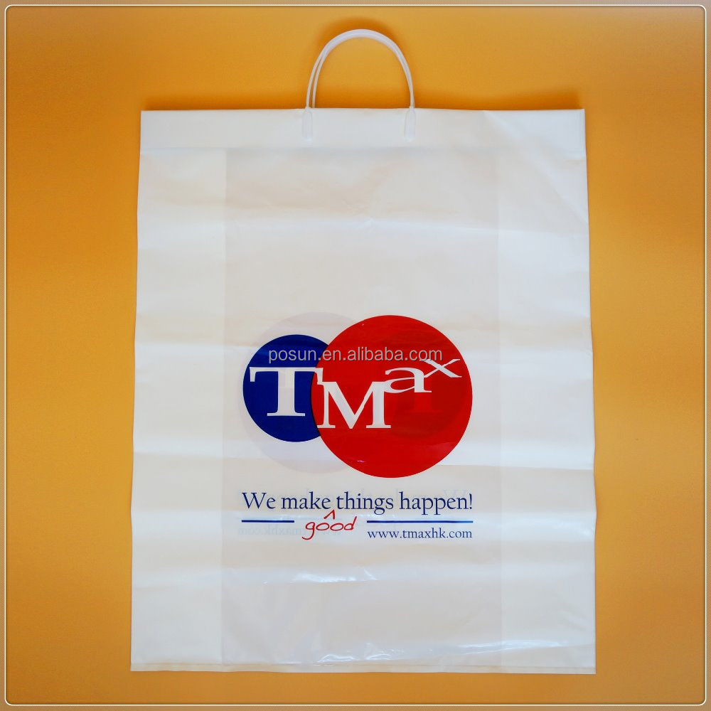 Custom Printed White Durable HDPE Handle Plastic Shopping Bag for Stores Used