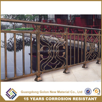 GOLON factory sale outdoor wrought iron stair railing, balcony railing parts for veranda