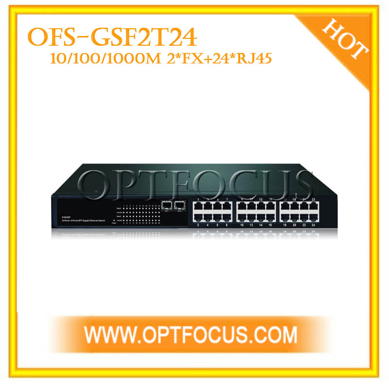 24 port + 2 mini GBIC SFP ports fiber switch