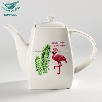OEM ODM custom printed modern cheap white ceramic restaurant porcelain teapots
