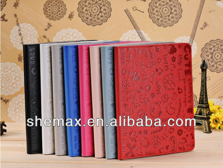 Cartoon Printing Book Case For tablet ipad 2 3 4 mini