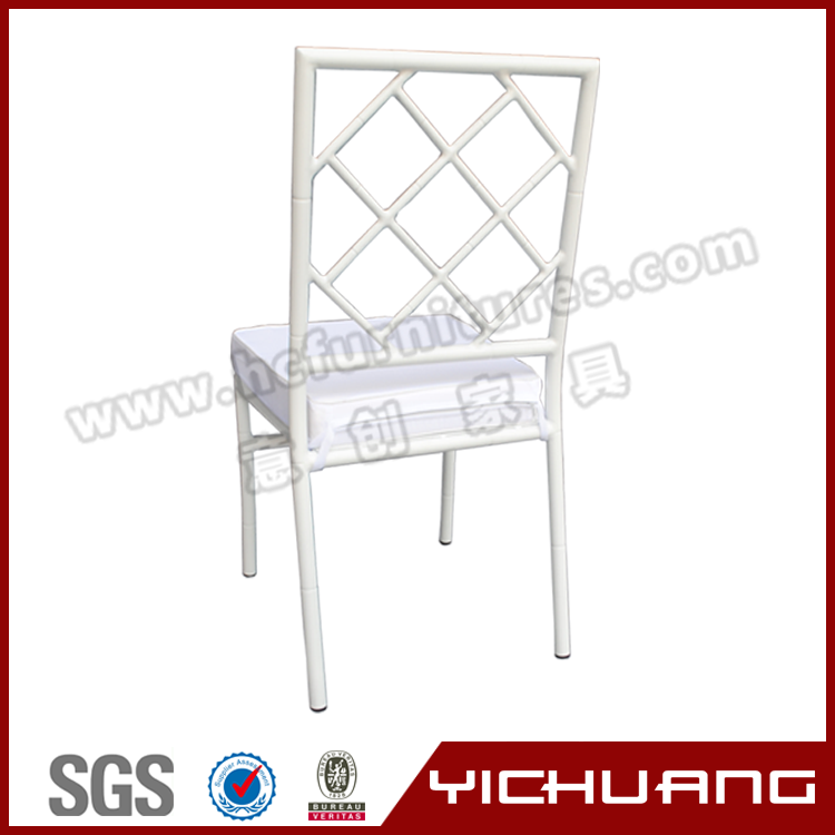 High quality aluminum wedding tiffany white chair with net back YCX-A28