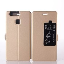 luxury auto sleep wake leather tpu mobile phone case for huawei p9
