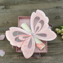Luxury Royal Pink Butterfly Shape Scroll Wedding Invitations Card For Sale