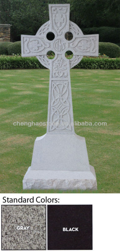 Gray Granite Cheap Memorial Headstones With Celtic Cross Design