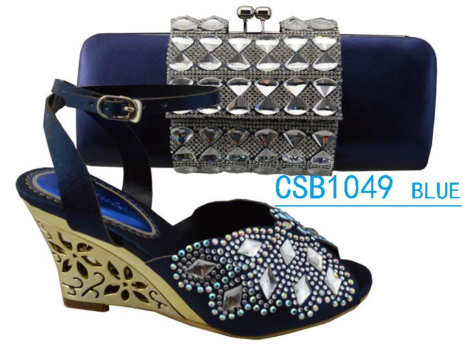 CSB1049 blue Sandals with matching enenving bag and shoes set