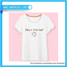 plain organic cotton casual style 100% cotton high quality good price white t shirt women