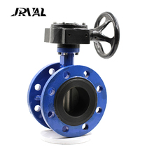 JRVAL gear actuator carbon steel double flange butterfly valve