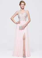 Beading Sequins Split Front night gown evening prom dress party dress
